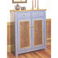 DIY Country Pie Safe Downloadable Plan - This handsome pierced-tin pie safe is a reproduction of an original that was made about 1830.