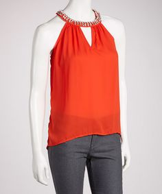 Take a look at this Red Embellished Hi-Low Yoke Top by Fashion Apparel Industries, Inc. on #zulily today!