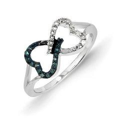 14k White Gold w/ Blue and White Diamond Infinity Heart Ring - QGY10751AA - KevinJewelers.com