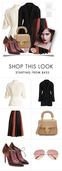 """Seduction 💋"" by victoria-dimeska ❤ liked on Polyvore featuring Emilia Wickstead, Mother of Pearl, Gabriela Hearst, Burberry, Malone Souliers and Victoria Beckham"
