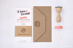 Wedding letterpress Invitation / Faire-part mariage kraft #letterpress #craft #corail #fairepart #mariage #wedding #stationery ©eyeswakeup