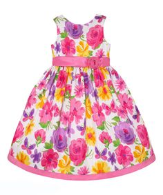 Look at this Pink & Purple Floral A-Line Dress - Infant, Toddler & Girls on #zulily today!