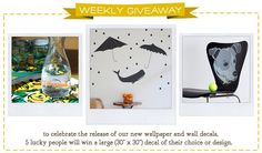 We're celebrating our new wallpaper + wall decals! 5 winners will receive a large wall decal, enter to win with your Spoonflower screen name: http://blog.spoonflower.com/2012/09/spoonflower-wall-decal-giveaway.html#