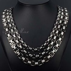 Black Silver Tone Flat Byzantine Men's Chain Stainless Steel Necklace  Customize Size: 6/8/11 mm_18-36 inch