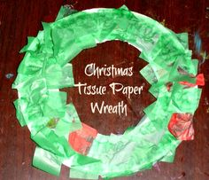 Easy Christmas Tissue Paper Wreath
