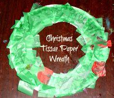 Easy Christmas Tissue Paper Wreath