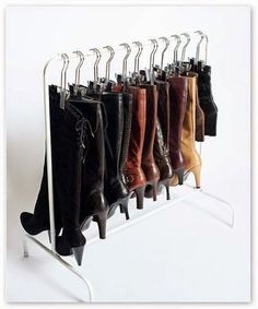 The Boot Rack™ (White Rack + 6 Boot Hangers)The Boot Rack - cool hanging boot storage idea. Entryway Shoe Storage, Boot Storage, Closet Storage, Storage Room, Shoe Storage For Boots, Storage For Purses, Wall Shoe Storage, Shoe Storage Design, Entryway Ideas