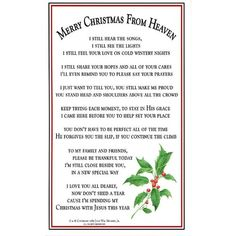My First Christmas In Heaven Poem ~ from those we miss so much who ...