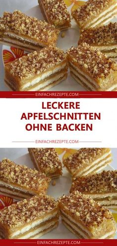 Delicious apple slices without baking- Leckere Apfelschnitten ohne Backen Delicious apple slices without baking - Easy Smoothie Recipes, Easy Cookie Recipes, Snack Recipes, Dessert Recipes, Dinner Recipes, Easy Vanilla Cake Recipe, Lemon Desserts, Pastry Recipes, Food Cakes