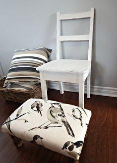 $160 Upholstered Ottoman - footstool -  bird fabric - rustic ottoman - wooden rectangular pouf - room decor -  brown beige pouf