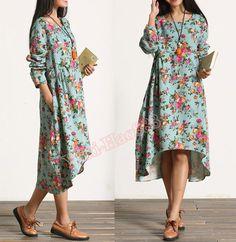 Vrouwen+Bloemen+Toevallige+linnen+jurk+van+casualfashion+op+DaWanda.com