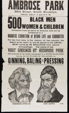 """1895 ad: """"Gigantic Exhibition of Negro Life and Character"""". Brooklyn"""
