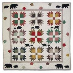 hand quilted throw pillows | Bears Paw Quilted Throw Quilted Decor by Patch Quilts
