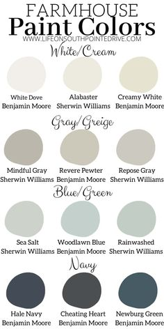 These are some of the best farmhouse paint colors to acheive that modern farmhouse or fixer upper style! Check out some of the most popular paint colors. Fixer Upper Paint Colors, Grey Paint Colors, Interior Paint Colors, Paint Colors For Home, Gray Paint, Living Room Paint Colors, Best Bedroom Paint Colors, Office Paint Colors, Trending Paint Colors
