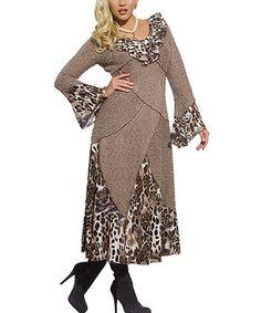 Look at this #zulilyfind! Mocha Leopard Mixed Media Dress - Women & Plus #zulilyfinds