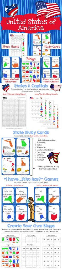 States and Capitals Bundle is intended to help students learn the states, capitals and abbreviations and to help spark student interest United States Social Studies. $