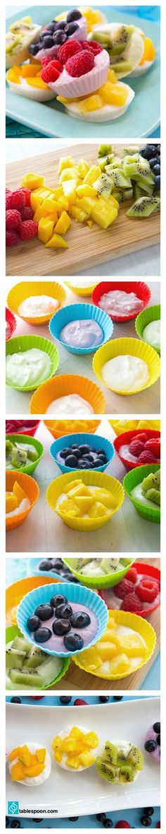 Use dairy free yogurt -Fruity Frozen Yogurt Snacks. A fresh new way to enjoy fro yo! These creamy bites come in all the colors of the rainbow. All you need are yogurt, fruit and a freezer. Baby Food Recipes, Snack Recipes, Cooking Recipes, Healthy Recipes, Yogurt Recipes, Healthy Treats, Healthy Eating, Healthy Birthday Treats, Healthy Kids