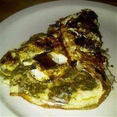 Omelette au pesto et champignons portobello