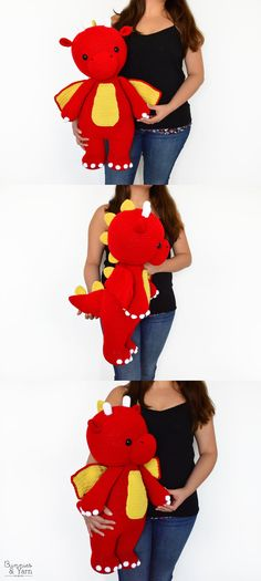 Crochet Toys For Boys Crochet Pattern - Danny the Friendly Dragon - 55 cm. Crochet For Boys, Love Crochet, Double Crochet, Easy Crochet, Crochet Baby, Knit Crochet, Boy Crochet Patterns, Crochet Amigurumi Free Patterns, Crochet Dolls