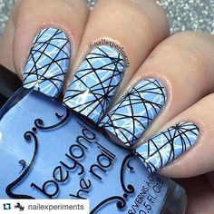 Love the crazy lines!! Great double stamped mani by the beautiful @nailexperiments ・・・ After a fun weekend at Genbeauty it was finally time to give myself a much needed mani  Ordered this set of Uber Chic plates from @girlybitscosmetics and knew I needed to do a double stamped image with this 'scratch' looking design  @easy_peel Nail art latex barrier  @beyondthenail Spring blue creme  @uberchicbeauty stamping plate 9-03  @bornprettystore white stamping polish + clear jelly stamper  @glis...