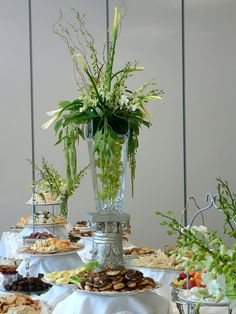 Tall floral arrangement for food table