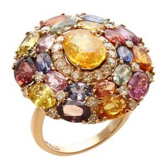 Multicolor Natural Sapphire Diamond Gold Ring | From a unique collection of vintage more rings at https://www.1stdibs.com/jewelry/rings/more-rings/