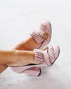 Gucci 'Marmont' blush pink suede pumps | pinterest: @Blancazh