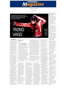 Matéria sobre a morte de Michael Jackson em 2009 publicada no jornal O POPULAR