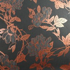 Jiao Floral Wallpaper by Steve Leung - Black Flower Wall Coverings by Graham  Brown