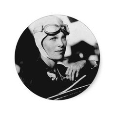 Vintage Amelia Earhart Photo Round Stickers