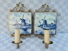 2-Wandlampen-Messing-mit-Holland-Kachel-Delftblau