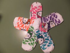 NEW Hello Kitty Womens Set of 5 Pair No Show Socks Size 9 - 11 Animal Print  #HelloKitty #Peds