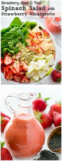 Strawberry, Apple Pear Spinach Salad with a Strawberry Vinaigrette. Healthy and… Strawberry, Apple Pear Spinach Salad with a Strawberry Vinaigrette. Healthy and delicious! Strawberry Vinaigrette, Spinach Strawberry Salad, Spinach Salads, Spinach Recipes, Salad With Fruit, Blueberry Salad, Strawberry Fruit, Vinaigrette Dressing, Vinaigrette