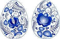 Stock vector of 'Eggs easter in gzhel style.  Gzhel (a brand of Russian ceramics, painted with blue on white)'