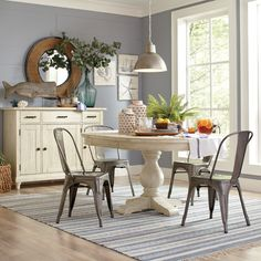 """Birch Lane Clearbrook Round Extending Dining Table (48"""" round) ~$1000"""