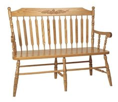 Amish Solid Wood Acorn Back Bench Gorgeous paddle shaped spindles. Available in three widths and with or without arms. Option to add a storage box. Amish made in Ohio. #AcornBackBench