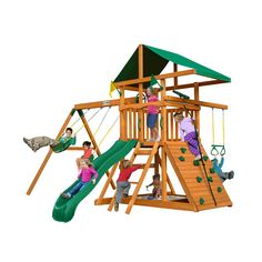 Shop for Gorilla Playsets Navigator Treehouse Wood Swing Set with Monkey Bars, Built-In Sandbox Area, and Rock Wall. Get free delivery On EVERYTHING* Overstock - Your Online Toys & Hobbies Shop! Cedar Swing Sets, Wood Swing Sets, Cedar Posts, Wooden Playset, Wooden Playhouse, Rope Ladder, Plastic Coating, Wooden Swings, Rock Wall