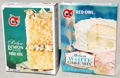 Up for auction is a pair of Red Owl cake mixes from the late or early Some staining on both boxes. Have a look at my other vintage advertisi. Owl Food, Retail Signs, Red Owl, Vintage Baking, Vintage Packaging, Snack Recipes, Snacks, White Cake Mixes, Retro Recipes