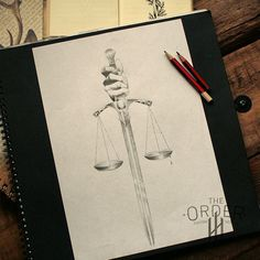Sword With Justice Scales Drawing Sketch