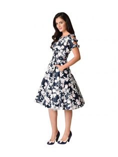 Unique Vintage Women's 1950s Floral Bow Sleeve Selma Swing Dress - Navy/Pink