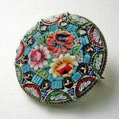 Antique mosaic brooch