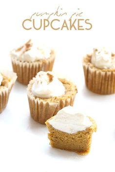 Easy low carb Pumpkin Pie Cupcakes. This delicious keto dessert is like mini crustless pumpkin pies!  via @dreamaboutfood