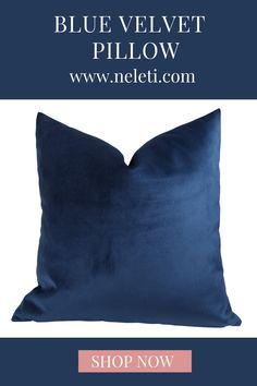 Blue velvet pillow made in custom sizes. Handmade Cushion Covers, Handmade Cushions, Decorative Pillow Covers, Throw Pillow Covers, Blue Throw Pillows, How To Make Pillows, Velvet Cushions, Blue Velvet, Lumbar Pillow