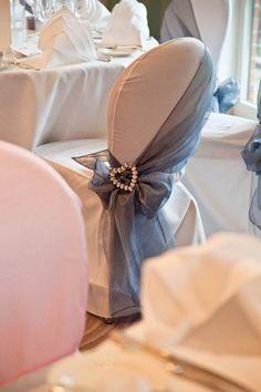 dusty blue wedding chair cover / http://www.himisspuff.com/wedding-chair-decor-ideas/8/