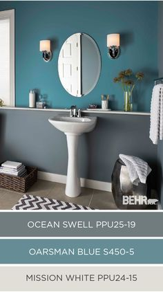 Accent walls stand out even more when paired with a sophisticated neutral like gray. Create a wow-worthy guest bathroom with the help of Oarsman Blue. Pair this pop of color with Ocean Swell and Mission White for an aesthetically pleasing color palette.