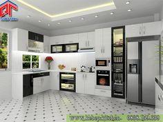Tủ bếp gỗ acrylic màu trắng đen cá tính EDU12a