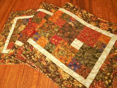 Quilted Fall Table Runner in Moda's Autumn Elegance by SusiQuilts
