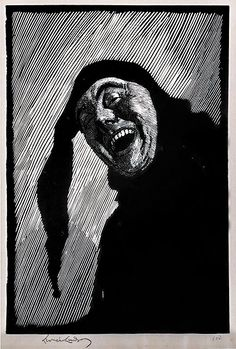 """Lionel Lindsay Australian, 1874-1961 The Jester [Self Portrait], 1923. Wood engraving, signed and editioned """"100"""" in pencil in lower margin. The image shows Lionel Lindsay without his moustache."""