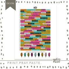 2017 Gratitude Documented Wordfetti | Bible Journaling Printable Ephemera by Illustrated Faith Faith Bible, Illustrated Faith, Coordinating Colors, Ephemera, Gratitude, Pray, Journaling, Printable, Lettering