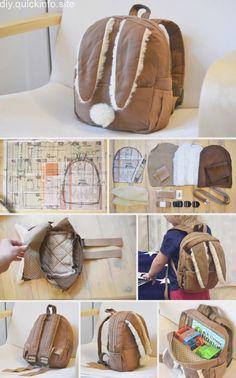 Toddler Backpack - toddler bag - Детский рюкзак Заяц,Bunny Toddler Backpack - toddler bag - Детский рюкзак Заяц, Vestido de alcinhas transpassado com botões Sewing Tutorials, Sewing Crafts, Sewing Projects, Sewing Patterns, Bag Patterns, Toddler Bag, Toddler Backpack, Couture Bb, Diy Backpack